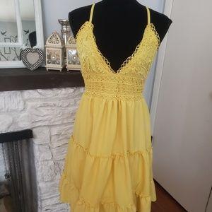 Yellow boho style dress. Size XL